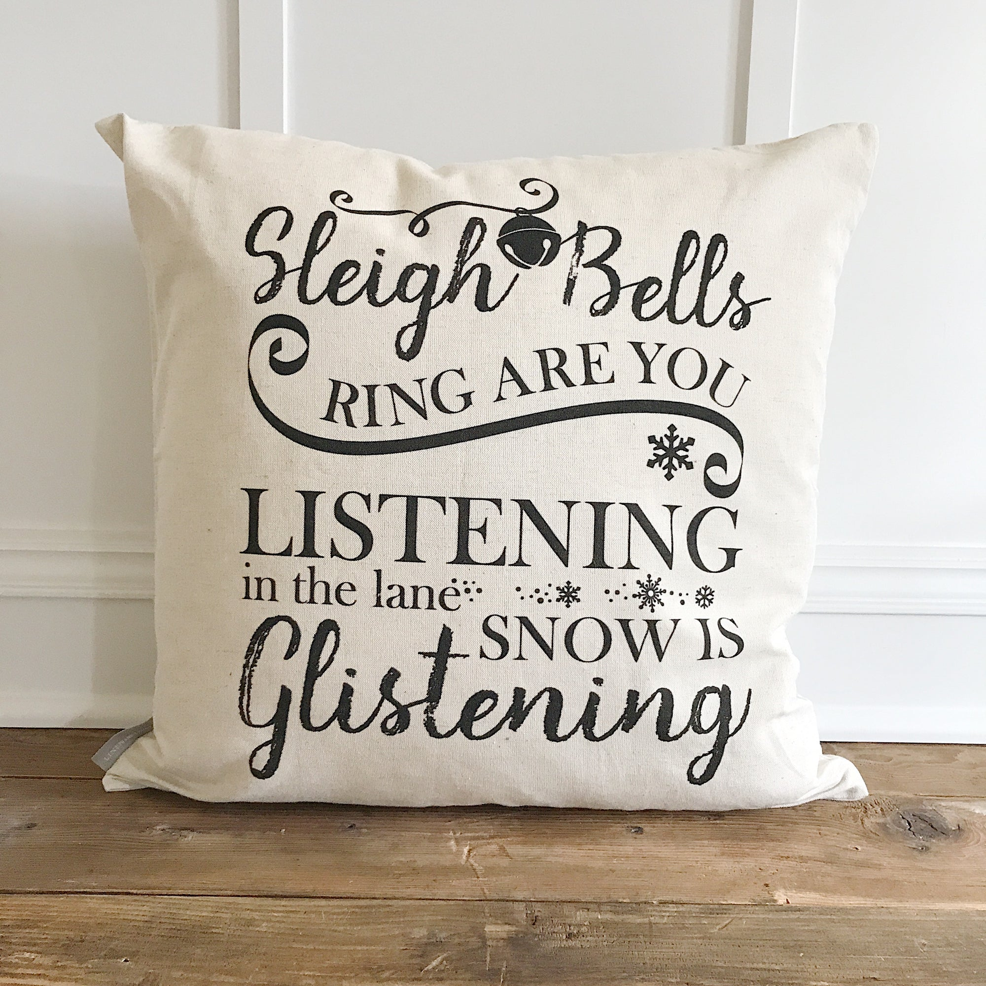 Sleigh Bells Pillow Cover - Linen and Ivory