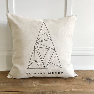 Modern So Very Merry Pillow Cover - Linen and Ivory