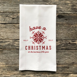 Scandanavian Holly Jolly Red Tea Towel - Linen and Ivory