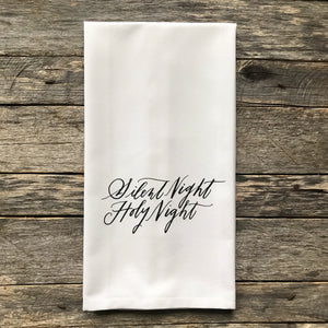 Silent Night Holy Night Tea Towel - Linen and Ivory