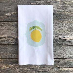 Lemon Watercolor Tea Towel - Linen and Ivory