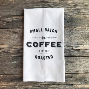 Small Batch Coffee Tea Towel - Linen and Ivory