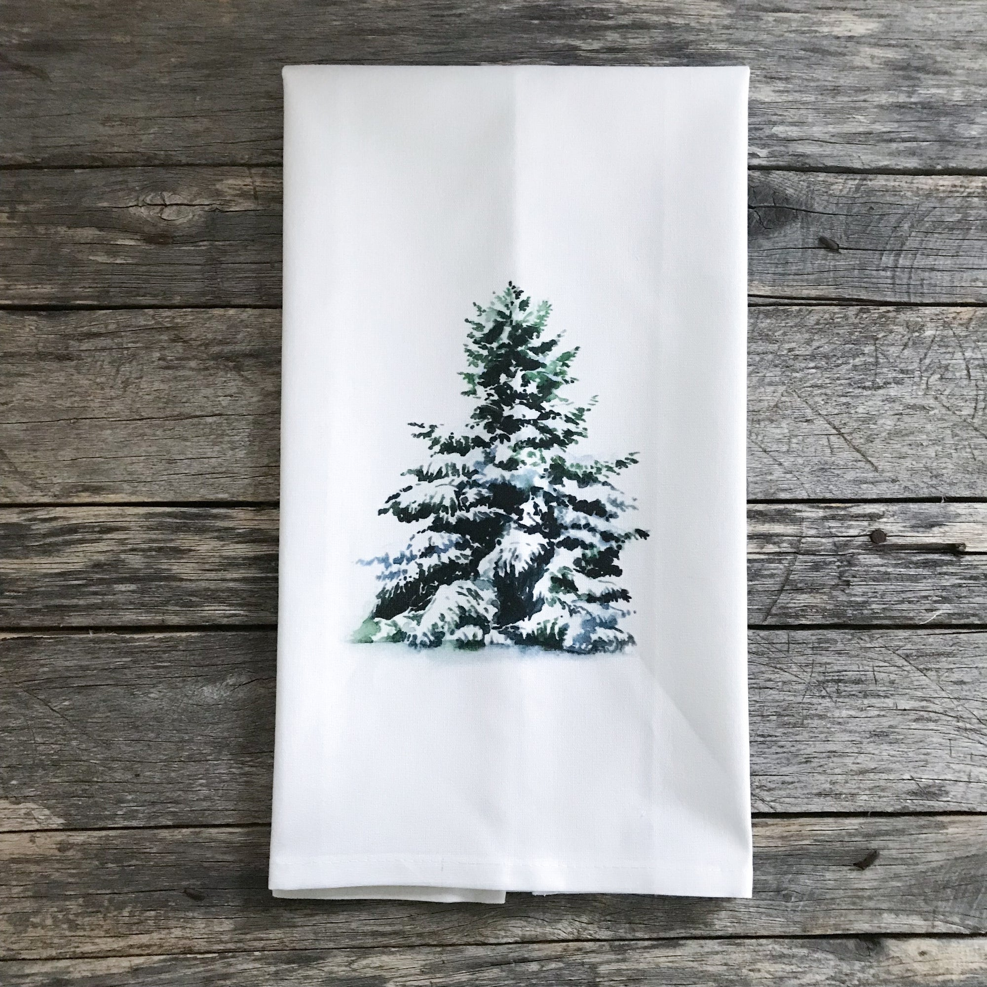 Snowy Evergreen Tea Towel - Linen and Ivory