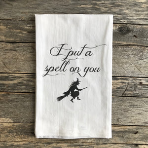 Witch Spell Tea Towel - Linen and Ivory
