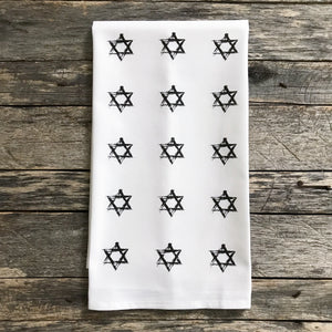 Star of David Stamp Tea Towel - Linen and Ivory