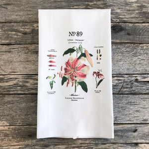 Stargazer Lily Botanical Tea Towel - Linen and Ivory