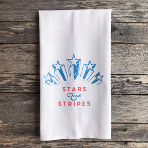 Stars & Stripes Fireworks Tea Towel - Linen and Ivory