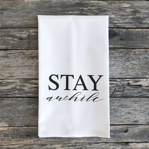 Stay Awhile Tea Towel (Design 2) - Linen and Ivory