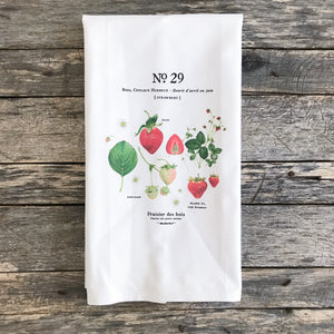 Strawberry Botanical Tea Towel - Linen and Ivory