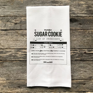 Sugar Cookie Recipe Tea Towel - Linen and Ivory