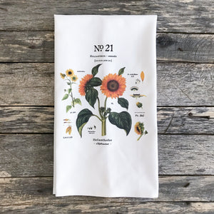 Sunflower Botanical Tea Towel - Linen and Ivory