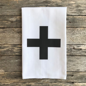 Swiss Cross Tea Towel (Black) - Linen and Ivory