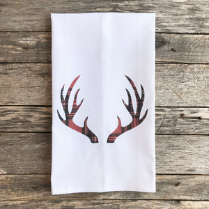 Tartan Plaid Antlers Tea Towel - Linen and Ivory