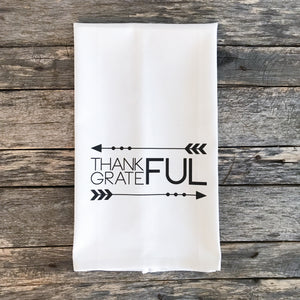 Thankful Grateful Tea Towel - Linen and Ivory