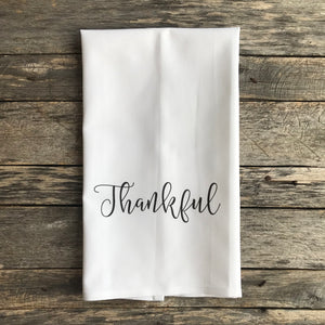 Thankful Tea Towel - Linen and Ivory