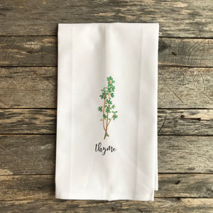 Thyme Tea Towel - Linen and Ivory