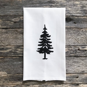 Tree Design 1 Tea Towel - Linen and Ivory