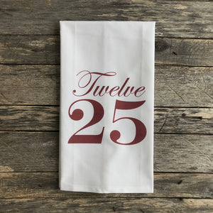 Twelve 25 Tea Towel (Red) - Linen and Ivory