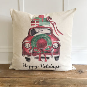 Vintage Holiday Car Pillow Cover - Linen and Ivory