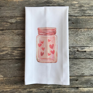 Valentine Mason Jar Tea Towel - Linen and Ivory