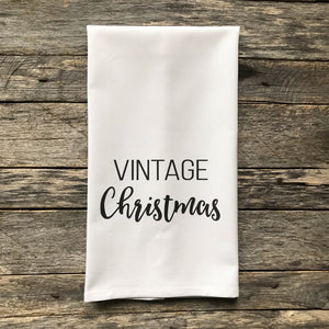 Vintage Christmas Tea Towel - Linen and Ivory