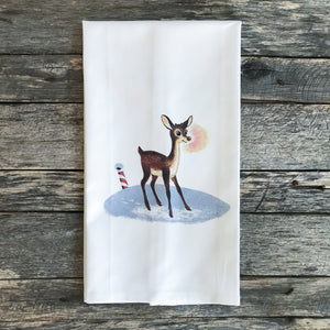 Vintage Rudolph & North Pole Tea Towel - Linen and Ivory