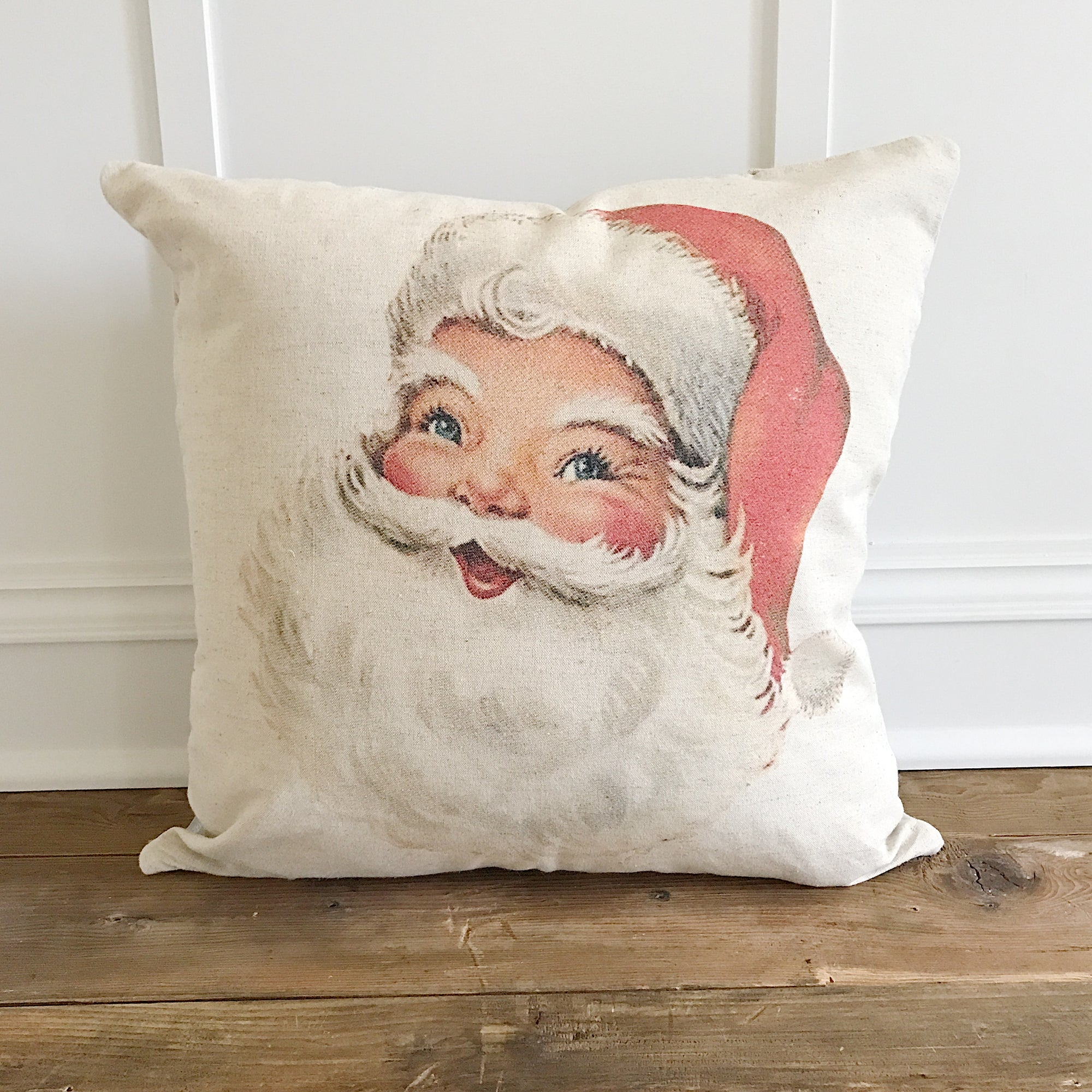Vintage Santa Pillow Cover - Linen and Ivory