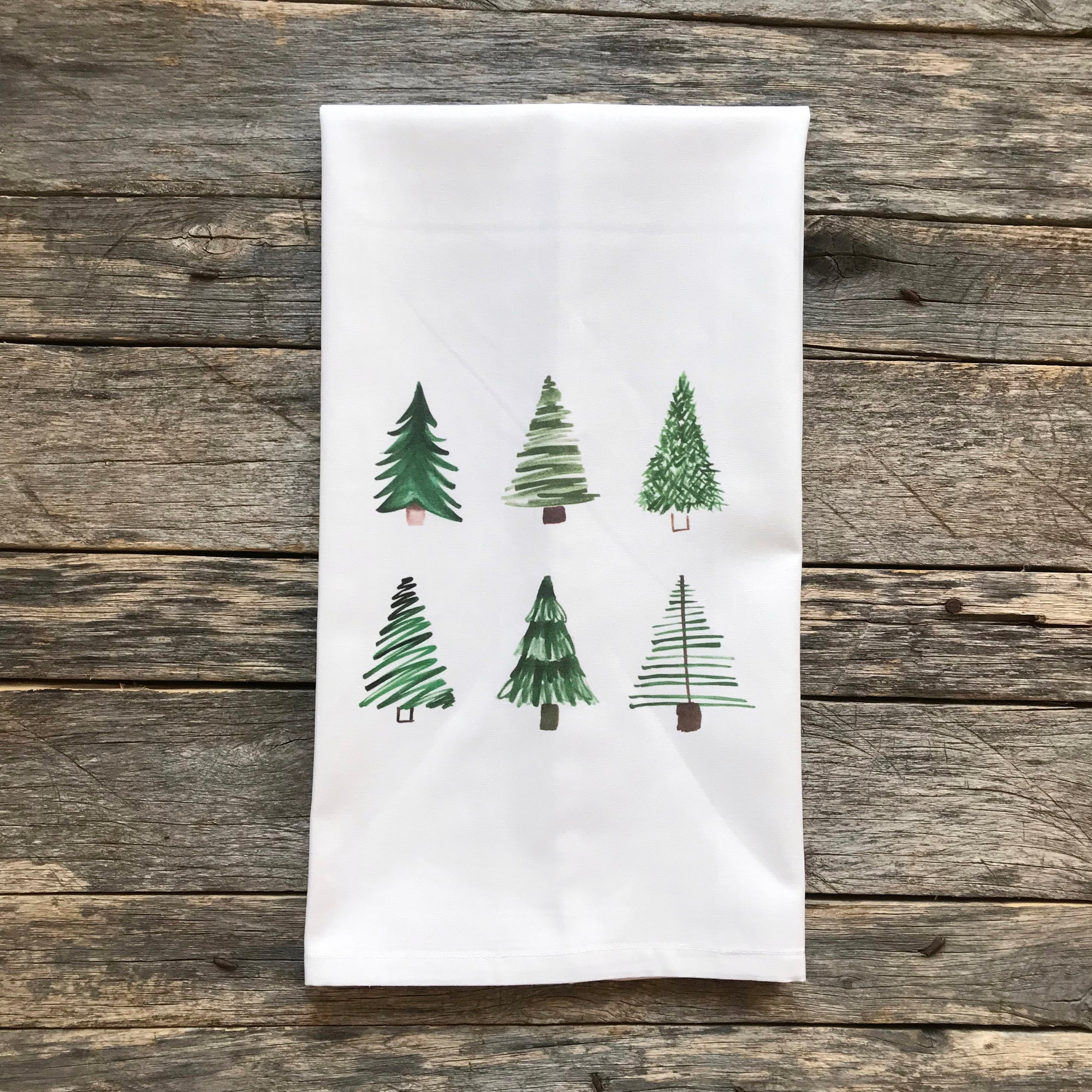 Watercolor Christmas Trees Tea Towel - Linen and Ivory