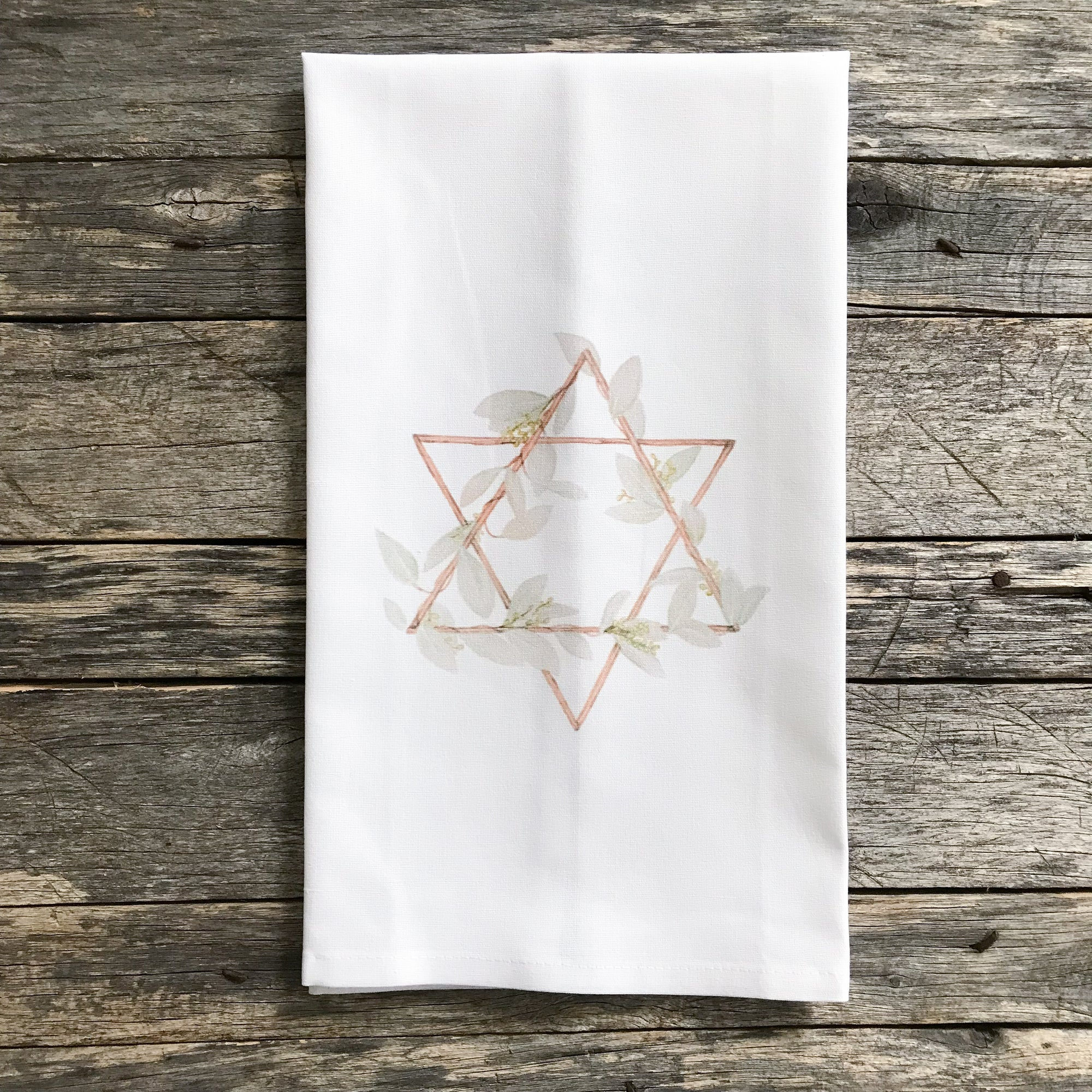 Watercolor Star of David Tea Towel - Linen and Ivory