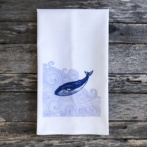 Whale Dive Design 3 Tea Towel - Linen and Ivory