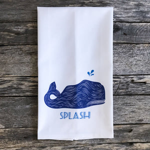Whale Splash Design 1 Tea Towel - Linen and Ivory