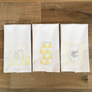 Mason Jar Tea Towel Set - Linen and Ivory
