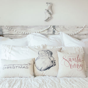 Santa Baby Pillow Cover (Red) - Linen and Ivory