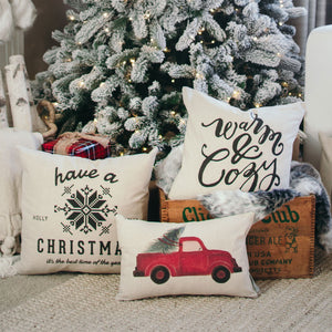 Red Truck No Words Pillow Cover - Linen and Ivory