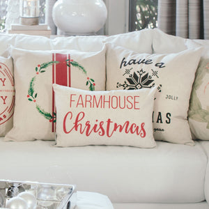 Farmhouse Christmas Pillow Cover (Red) - Linen and Ivory