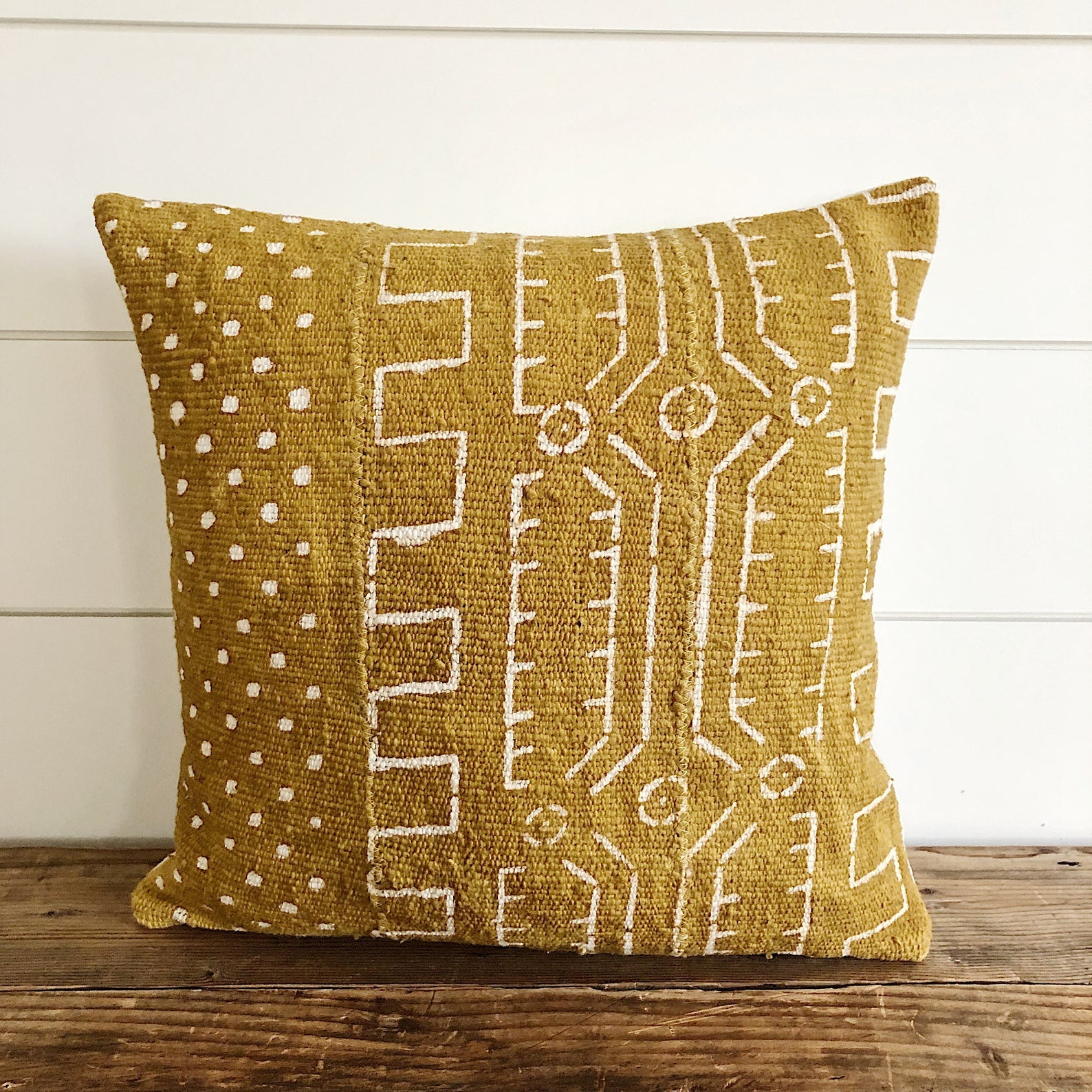 """Indy"" Mustard Yellow Authentic African Mud cloth Pillow Cover - Linen and Ivory"