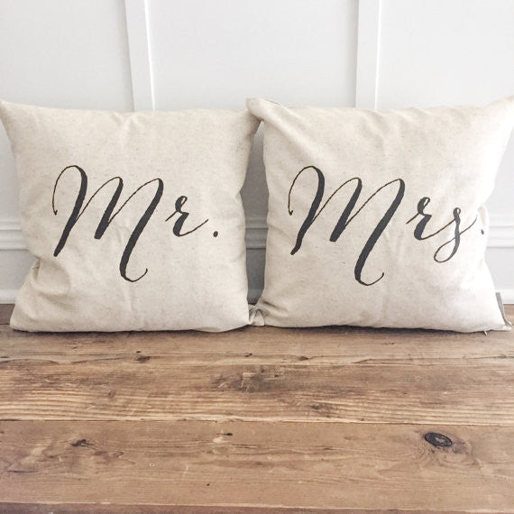 Mr & Mrs Pillow Cover Design 2 (Set of 2) - Linen and Ivory