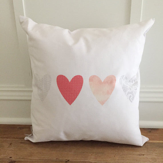 Pattern Hearts Pillow Cover - Linen and Ivory