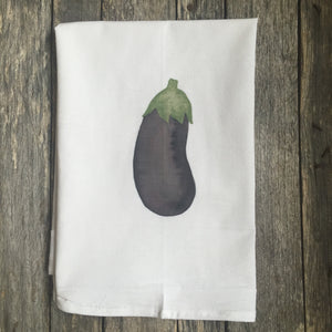 Eggplant Tea Towel - Linen and Ivory