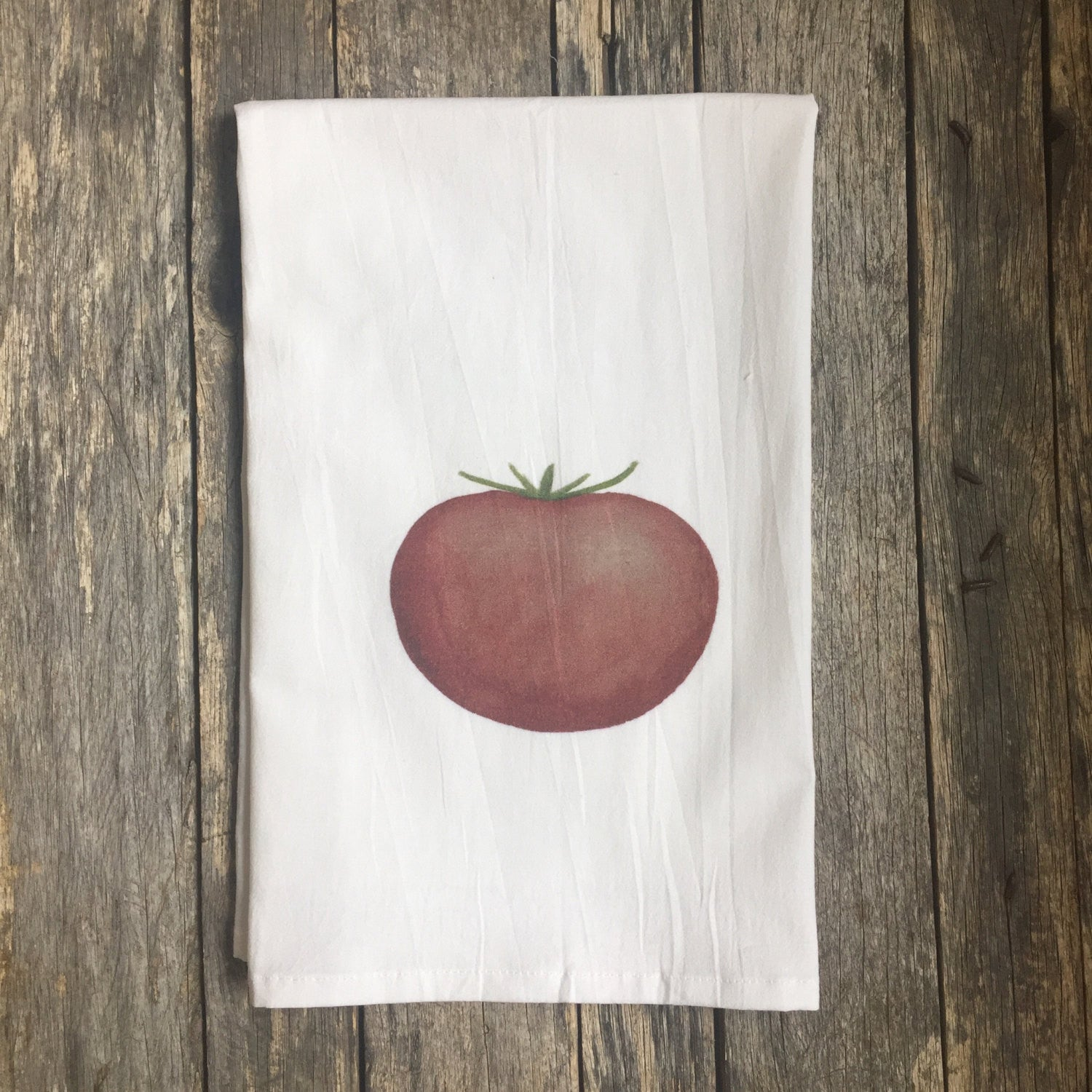Tomato Tea Towel - Linen and Ivory