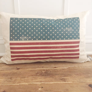American Flag Pillow Cover - Linen and Ivory