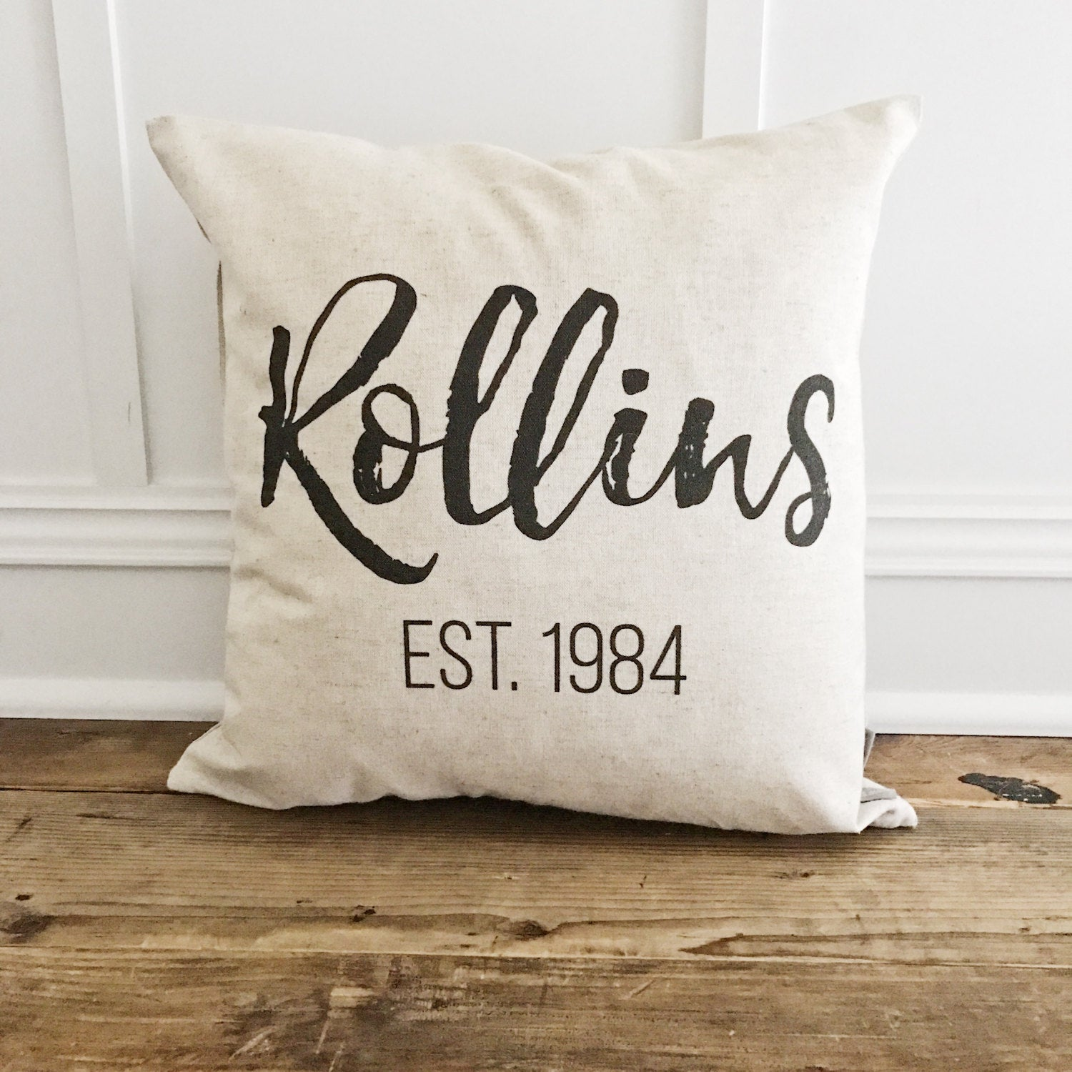 Custom Name & Est. Date Pillow Cover - Linen and Ivory