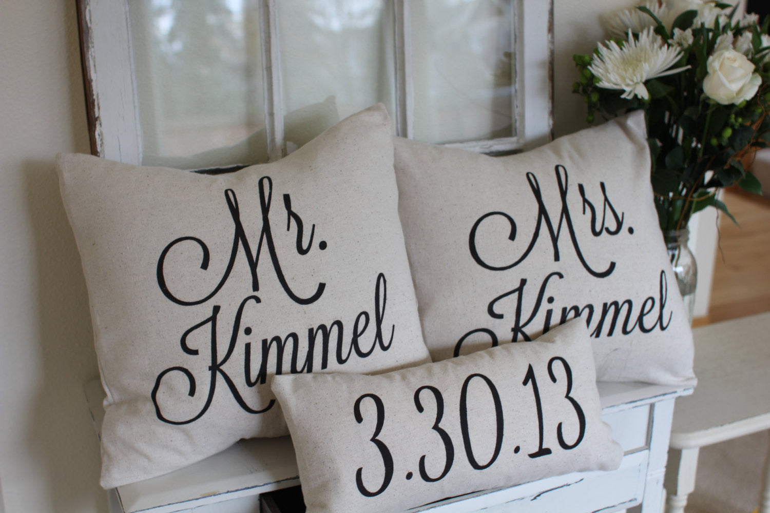 Custom Name & Date Pillow Covers (set of 3) - Linen and Ivory