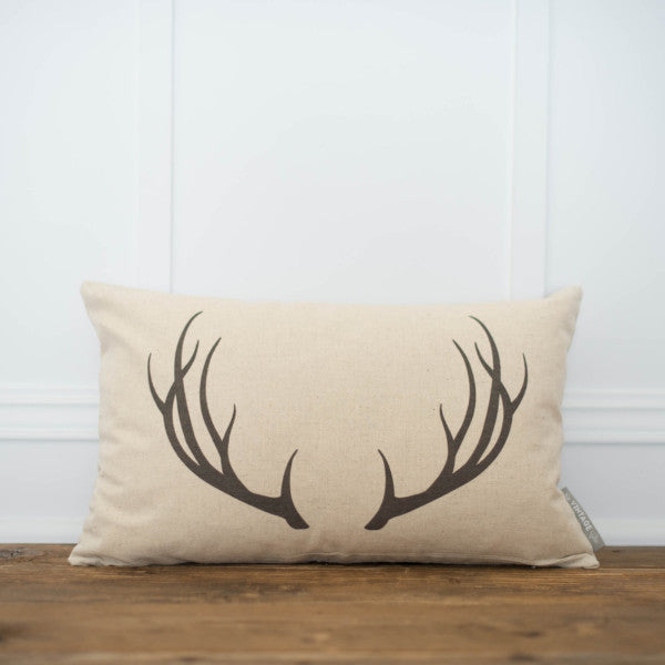 Antler Pillow Cover - Linen and Ivory