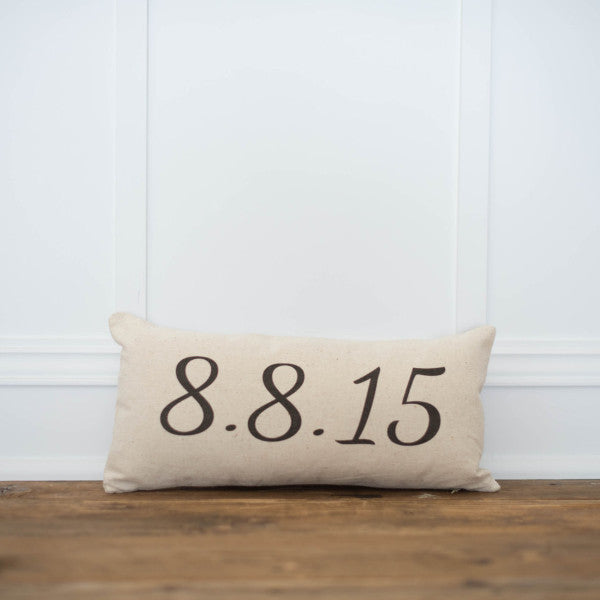 Custom Date Pillow Cover - Linen and Ivory