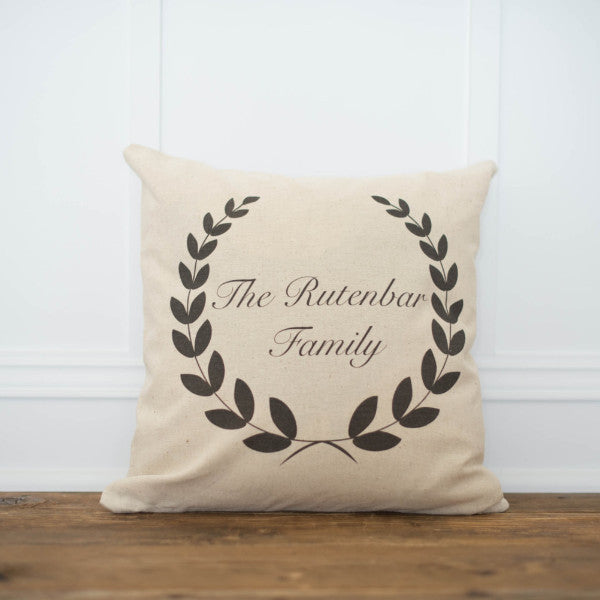 Custom Name Laurel Wreath Pillow Cover - Linen and Ivory