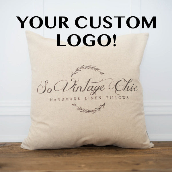 Custom Logo Pillow Cover - Linen and Ivory