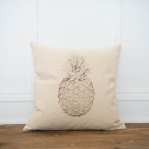 Pineapple Pillow Cover - Linen and Ivory