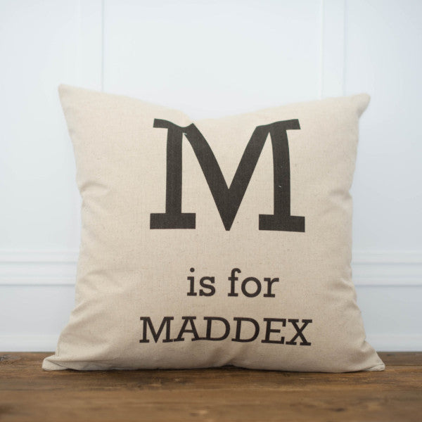 Custom Monogrammed Pillow Cover (Bold) - Linen and Ivory