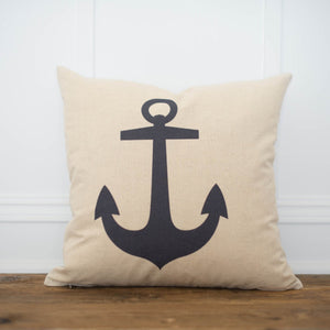 Anchor Pillow Cover - Linen and Ivory